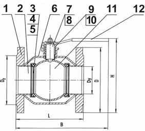 Цельносварной шаровой кран 11с67п-Ц фланцевый КШЦ, КШЗ