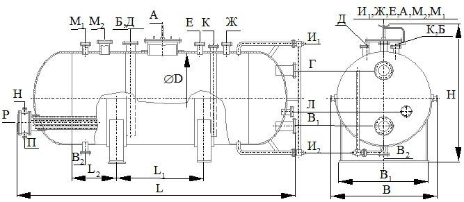 ГЭЭ Горизонтальный цельносварной аппарат с эллиптическими днищами (ГЭЭ), с трубным пучком