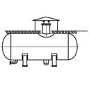 Горизонтальные емкости для наземного и подземного хранения сжиженного пропана, бутана и легких фракций бензина типа ПС и БС ОСТ 26-02-2080-84 Давление условное, Мпа 0,74;1,8 Объем номинальный, м3 10;25;50;100; 160;200