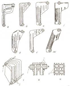 Секции различных моделей чугунных котлов и их соединение