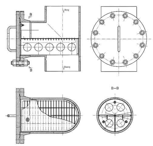 Фильтр пусковой тройниковый ФПТ Ду 80 – Ду 250 мм чертеж