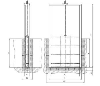 Схема поверхностного затвора щитового