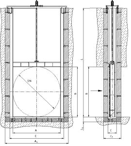 Схема глубинного щитового затвора